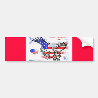 The American bald Eagle, the Flag and the Map. Bumper Sticker