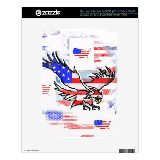 The American bald Eagle, the Flag and the Map. Decal For The NOOK
