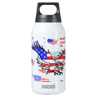 The American bald Eagle, the Flag and the Map. Thermos Water Bottle