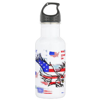 The American bald Eagle, the Flag and the Map. Water Bottle