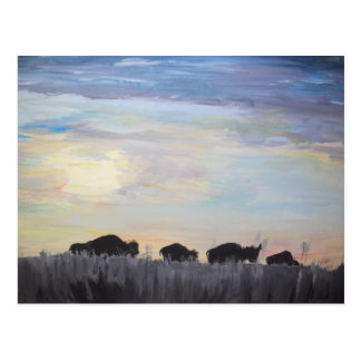 The American Bison - Acrylic Painting Postcard