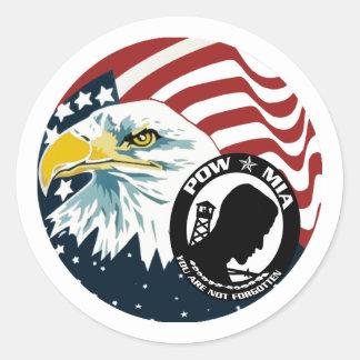 The American Eagle POW-MIA Round Stickers