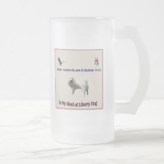 The American Eskimo Frosted Glass Beer Mug
