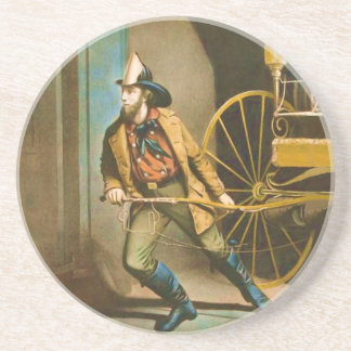 The American Firefighter Vintage Fireman Style 2 Coaster