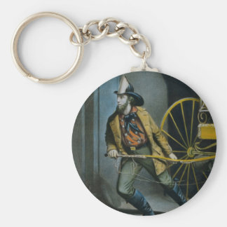 The American Fireman. Basic Round Button Keychain