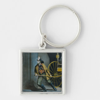 The American Fireman. Silver-Colored Square Keychain
