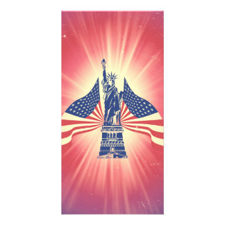 The American flag and statue of liberty Photo Card