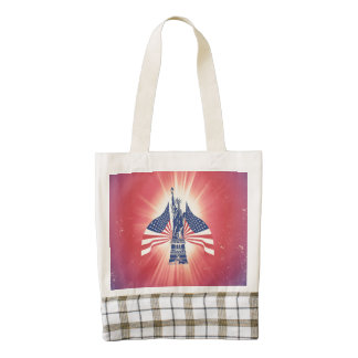 The American flag and statue of liberty Zazzle HEART Tote Bag