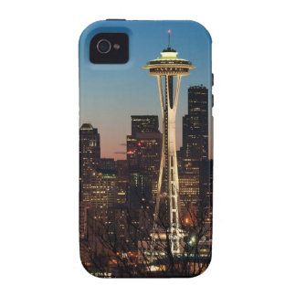The American flag flies between the rising moon iPhone 4 Cover