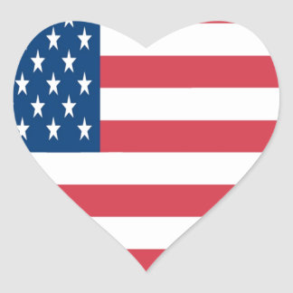 The American Flag On a White Background Heart Sticker