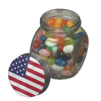 The American Flag - Stars and Stripes Glass Candy Jars
