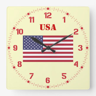 The American Flag - Stars and Stripes Square Wall Clock