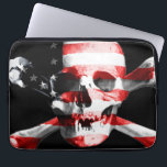 """The American flag superimposed on a skull Computer Sleeve<br><div class=""""desc"""">Perfect gift for home,  office or decoration. See also the other great products!</div>"""
