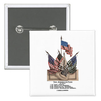 The American Flag (Vintage Historical) Vision Test 2 Inch Square Button