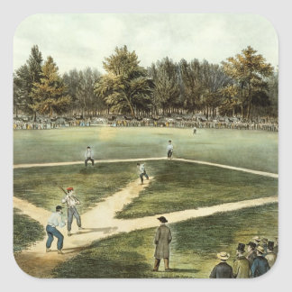 The American National Game of Baseball Square Sticker