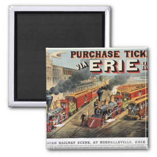 The American Railway Scene at Hornellsville 2 Inch Square Magnet