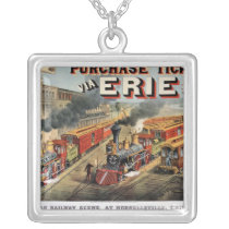 The American Railway Scene at Hornellsville Silver Plated Necklace