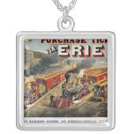 The American Railway Scene at Hornellsville Square Pendant Necklace