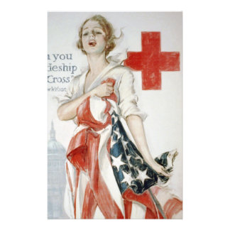 The American red cruciform poster of primary world Customized Stationery