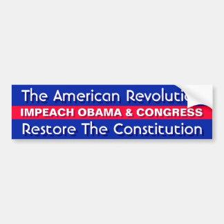 THE AMERICAN REVOLUTION,RESTORE THE CONSTITUTION CAR BUMPER STICKER