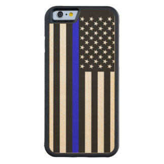 The American Thin Blue Line Symbol Carved Maple iPhone 6 Bumper Case