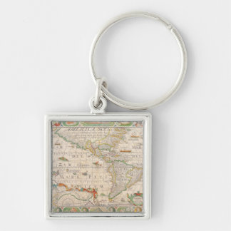 The Americas 2 Silver-Colored Square Keychain