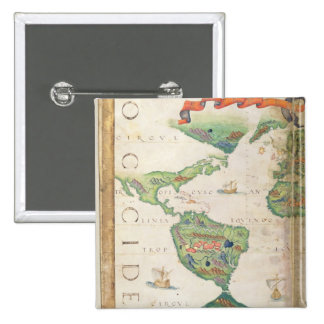 The Americas, detail from world atlas, 1565 2 Inch Square Button