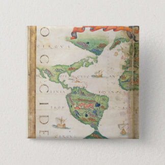 The Americas, detail from world atlas, 1565 Pinback Button