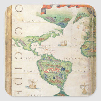 The Americas, detail from world atlas, 1565 Square Sticker