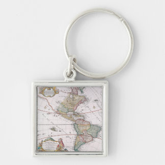 The Americas Silver-Colored Square Keychain