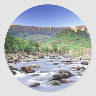 The Amphitheatre And Tugela River In Drakensberg Classic Round Sticker