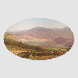 The Amphitheatre of Tusculum and Albano Mountains Oval Sticker