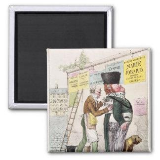 The Amusement of a Bill Sticker, 1820 2 Inch Square Magnet