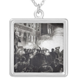 The Anarchist Riot in Chicago Square Pendant Necklace