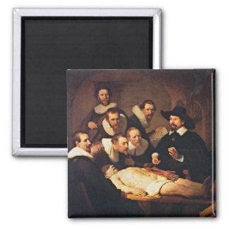 The Anatomy Lecture by Rembrandt 2 Inch Square Magnet