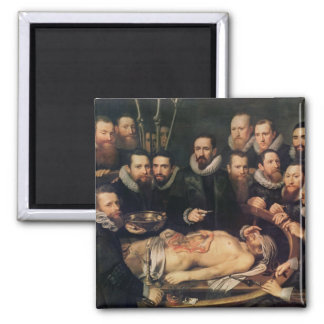 The Anatomy Lesson of Doctor Willem van der 2 Inch Square Magnet