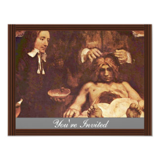 """The Anatomy Lesson Of Dr. Joan Deyman. By Rembrand 4.25"""" X 5.5"""" Invitation Card"""