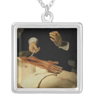 The Anatomy Lesson of Dr. Nicolaes Tulp, 1632 Square Pendant Necklace