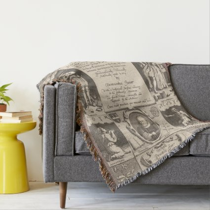 The Anatomy of Melancholy Unique Antique Engraving Throw Blanket