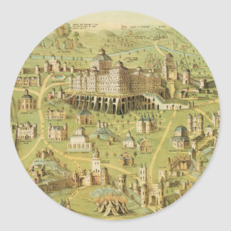 The Ancient City of Jerusalem & Solomon's Temple Classic Round Sticker