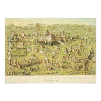 "The Ancient City of Jerusalem & Solomon's Temple 5"" X 7"" Invitation Card"