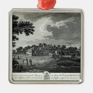 The Ancient Episcopal Palace of Bromley Square Metal Christmas Ornament