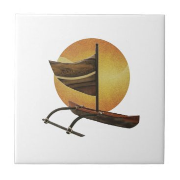 Hawaiian Themed The Ancient Outrigger Ceramic Tile