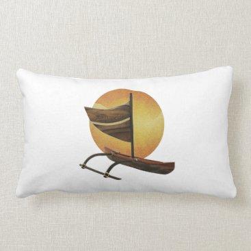 Hawaiian Themed The Ancient Outrigger Lumbar Pillow
