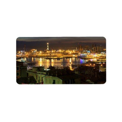 The ancient port in Genova, Italy Custom Address Labels