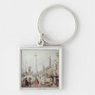 The Ancient Port of Antwerp Silver-Colored Square Keychain