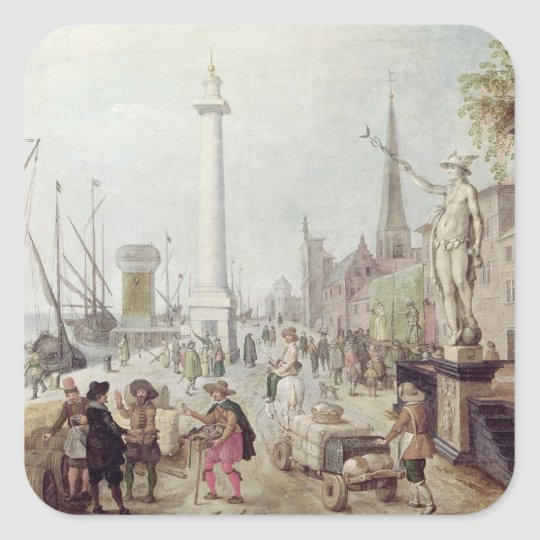 The Ancient Port of Antwerp Square Sticker