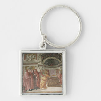 The Angel appearing to St. Zacharias in the Silver-Colored Square Keychain