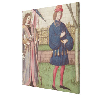 The Angel of Love appearing to a lover in garden Canvas Print