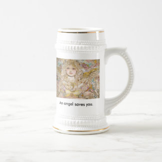 The angel of the Golden pearl., An angel saves ... Beer Stein